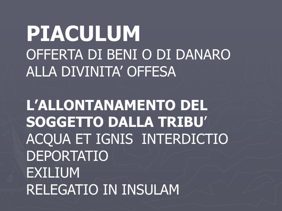 PIACULUM OFFERTA DI BENI O DI DANARO ALLA DIVINITA' OFFESA