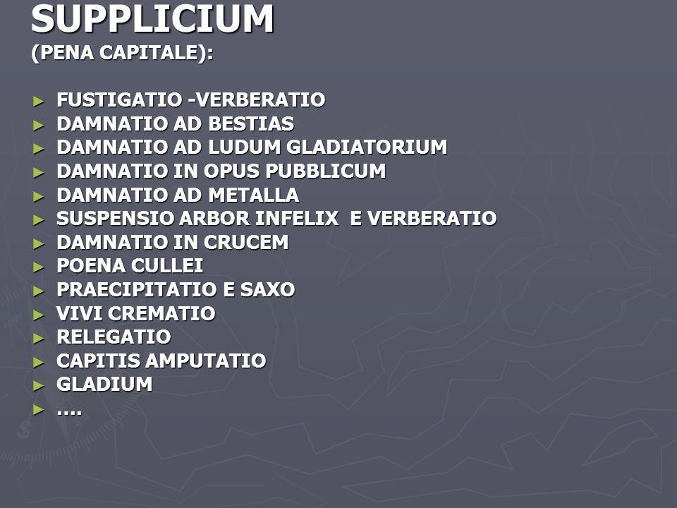 SUPPLICIUM (PENA CAPITALE): FUSTIGATIO -VERBERATIO DAMNATIO AD BESTIAS