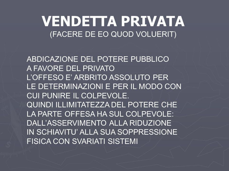 VENDETTA PRIVATA (FACERE DE EO QUOD VOLUERIT)