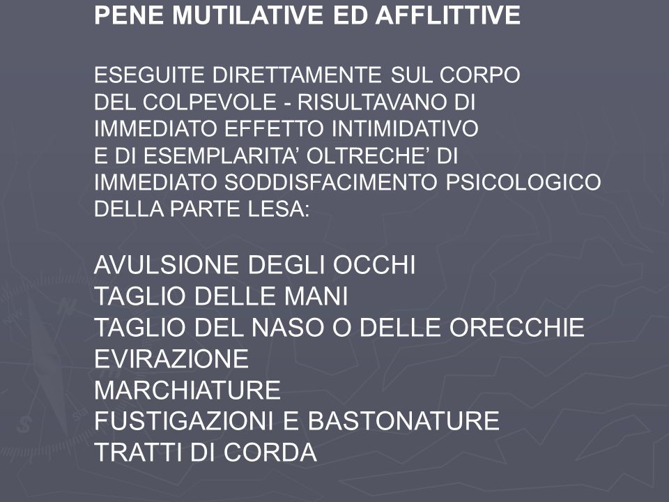 PENE MUTILATIVE ED AFFLITTIVE