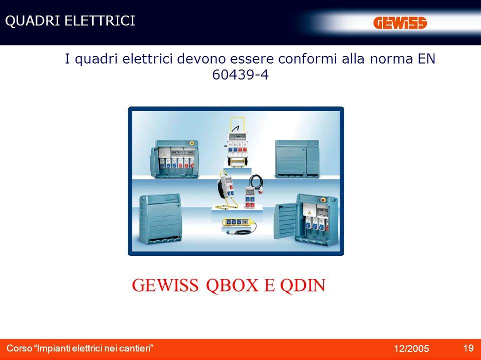 I quadri elettrici devono essere conformi alla norma EN 60439-4