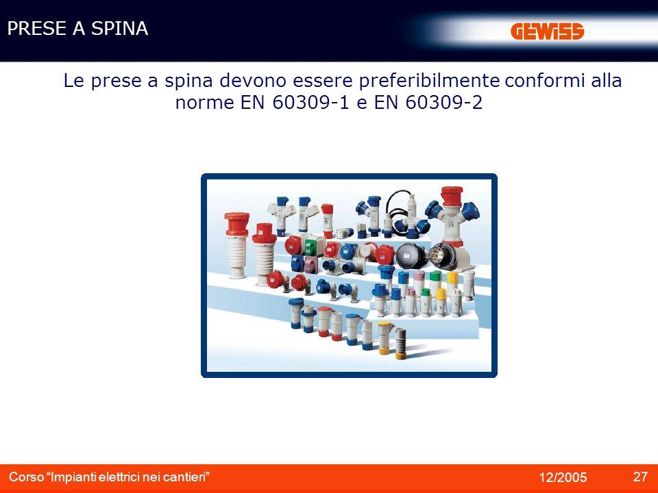 PRESE A SPINA Le prese a spina devono essere preferibilmente conformi alla norme EN 60309-1 e EN 60309-2.