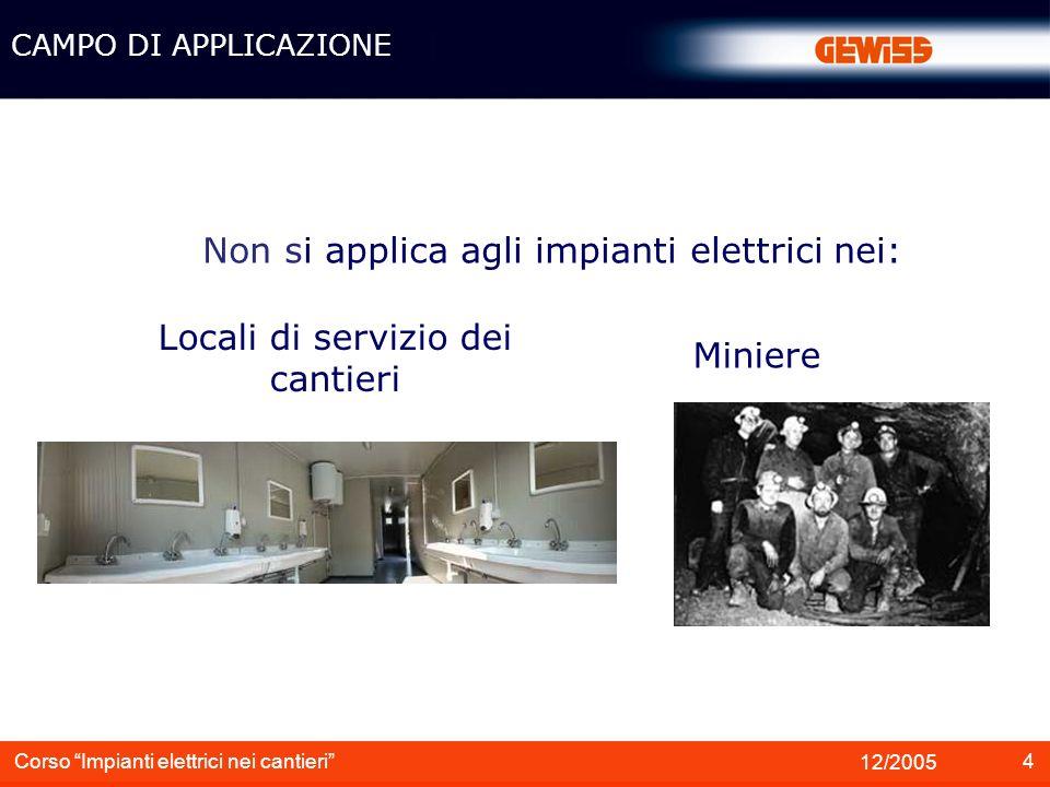 Non si applica agli impianti elettrici nei: