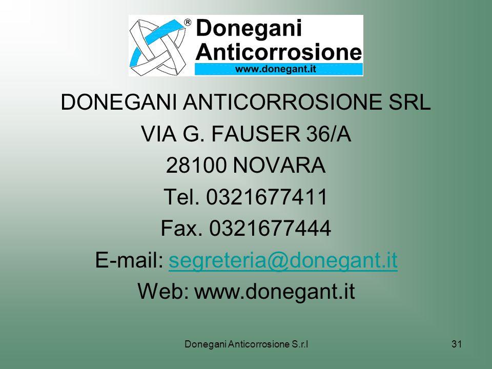 DONEGANI ANTICORROSIONE SRL VIA G. FAUSER 36/A 28100 NOVARA