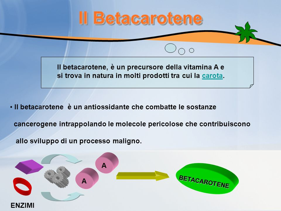 Il Betacarotene Il betacarotene, è un precursore della vitamina A e