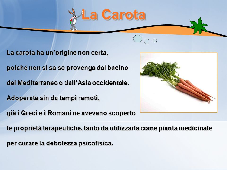 La Carota La carota ha un'origine non certa,