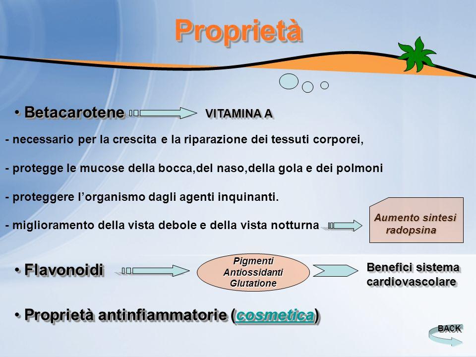 Proprietà Betacarotene Flavonoidi