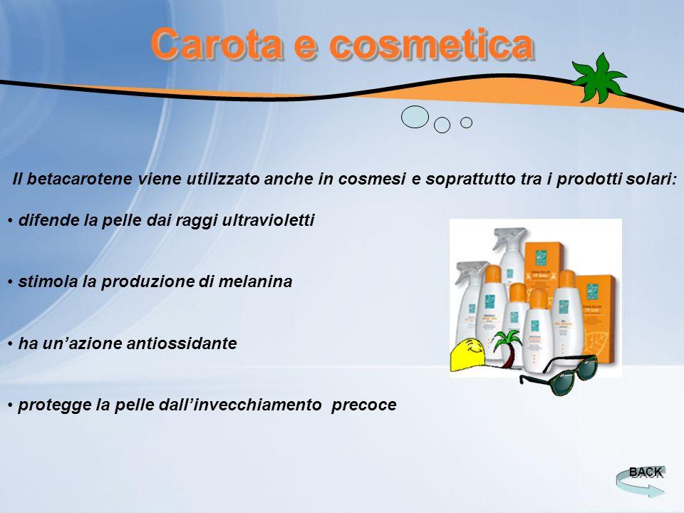 Carota e cosmetica Il betacarotene viene utilizzato anche in cosmesi e soprattutto tra i prodotti solari: