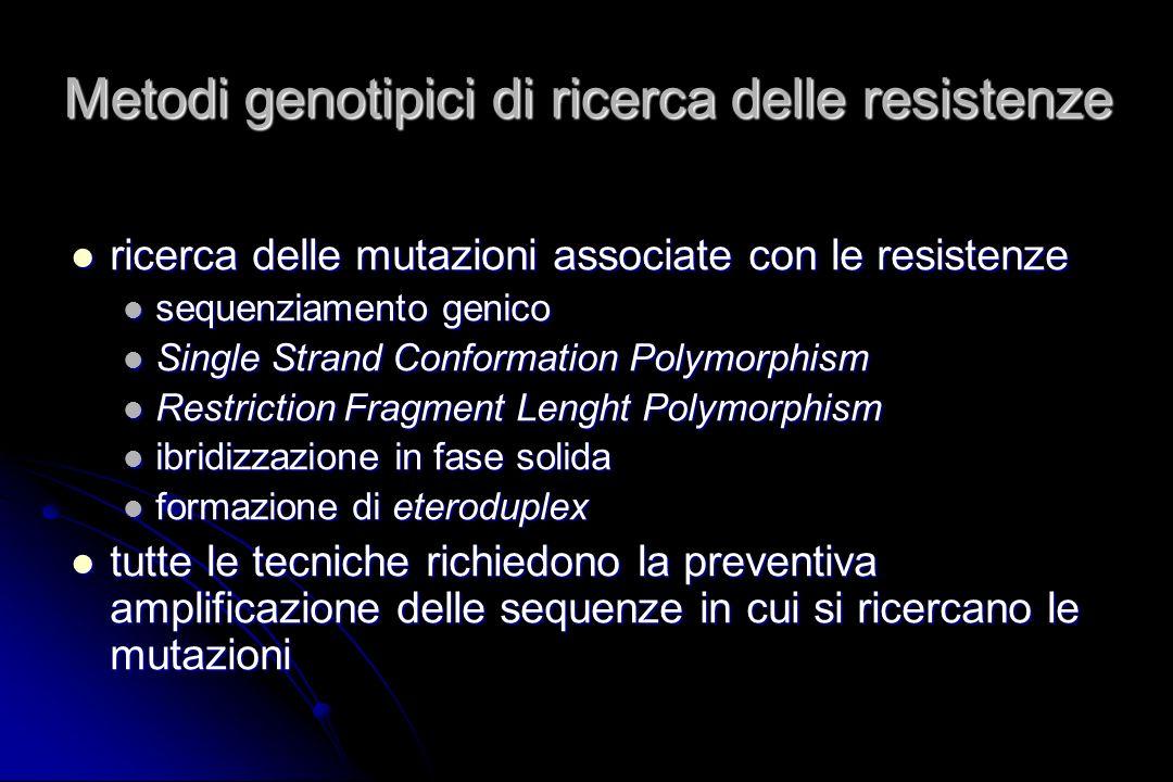 Metodi genotipici di ricerca delle resistenze