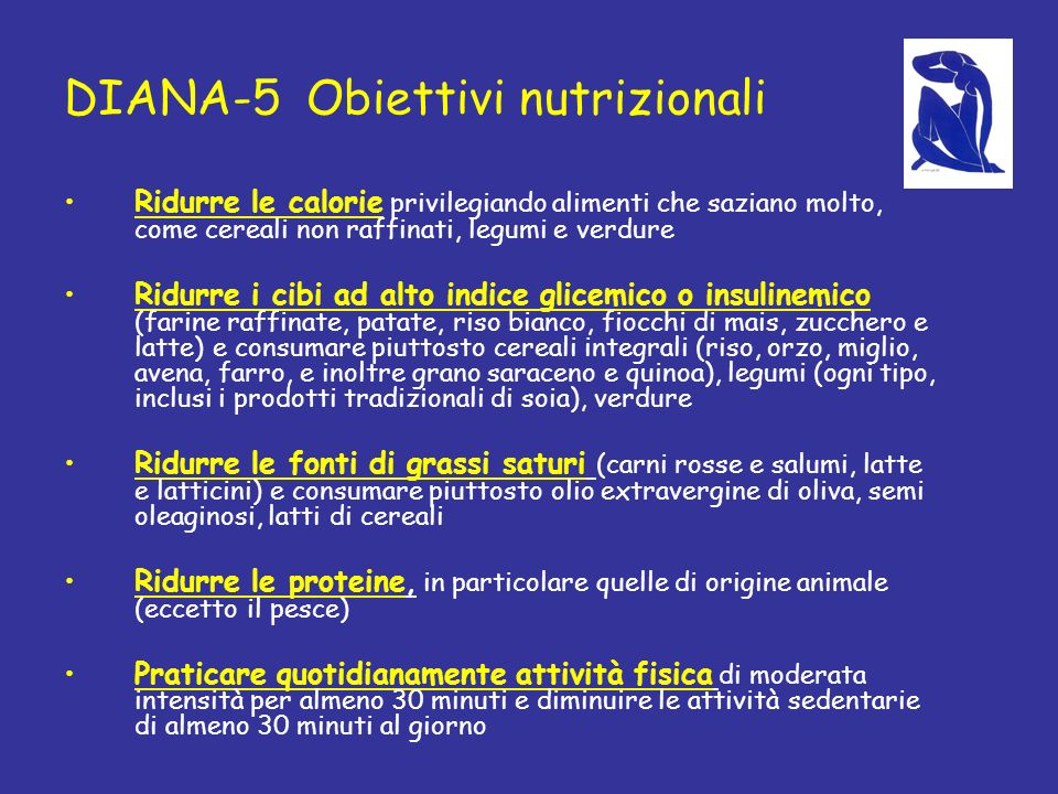 DIANA-5 Obiettivi nutrizionali
