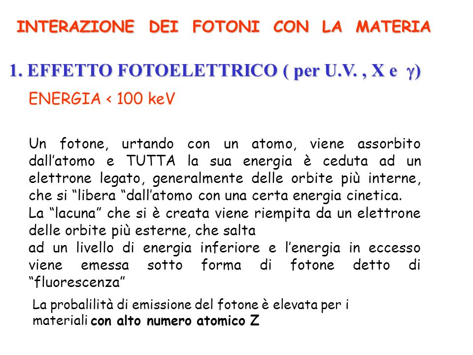 1. EFFETTO FOTOELETTRICO ( per U.V. , X e )
