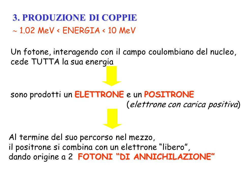 3. PRODUZIONE DI COPPIE  1.02 MeV < ENERGIA < 10 MeV