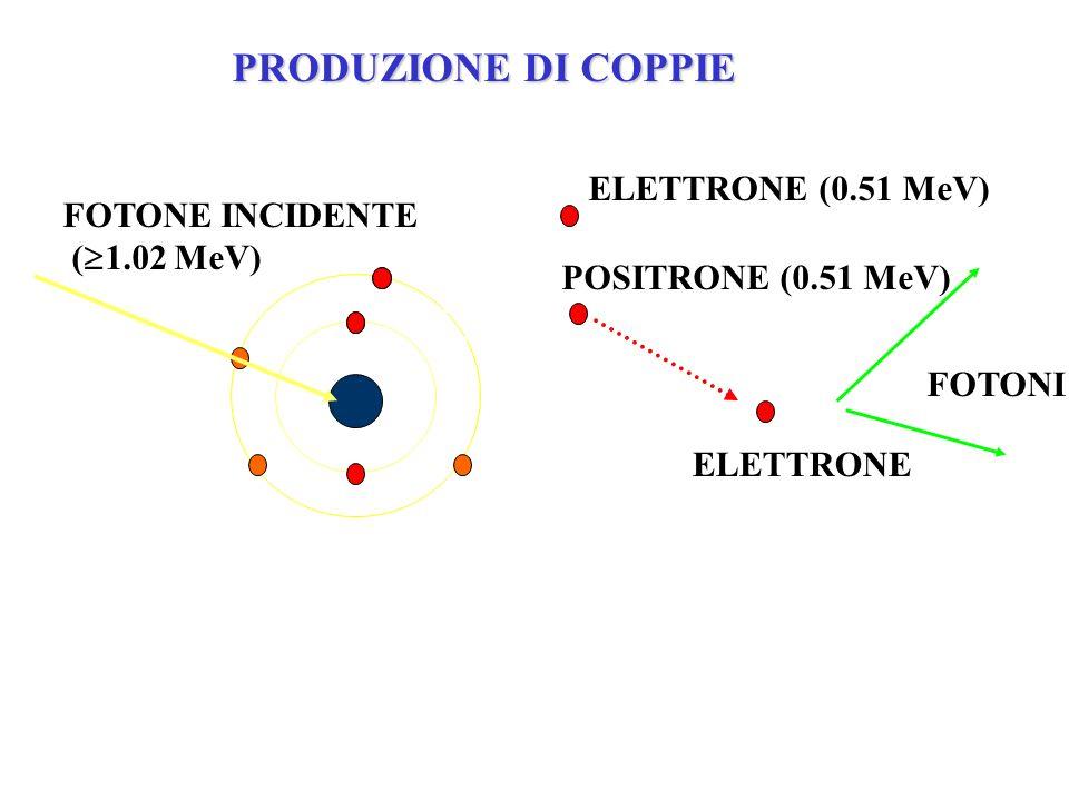 PRODUZIONE DI COPPIE ELETTRONE (0.51 MeV) FOTONE INCIDENTE (1.02 MeV)