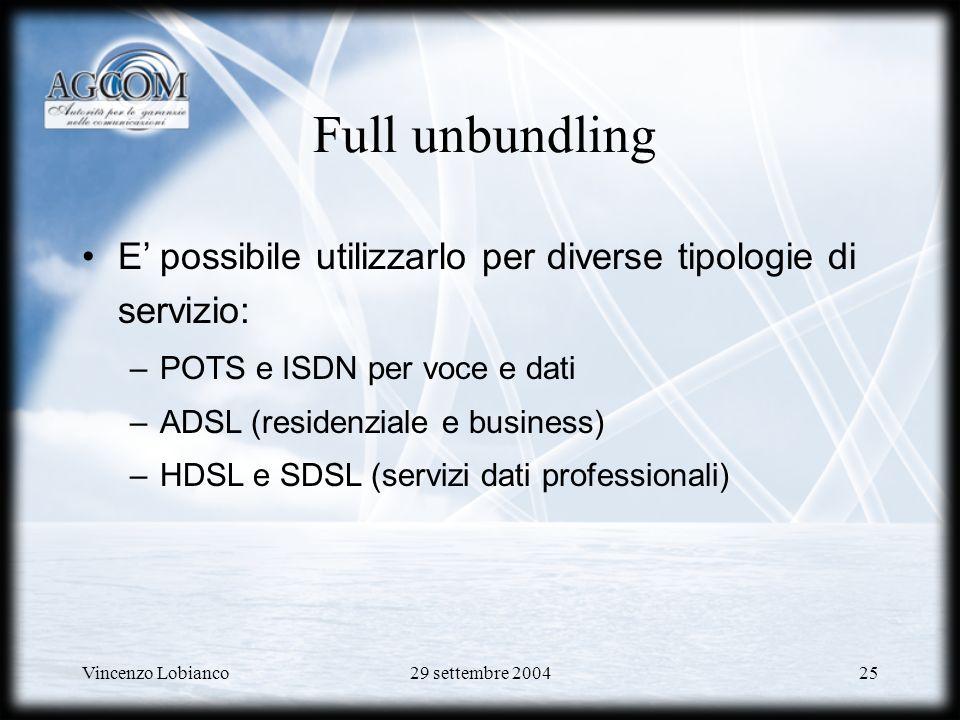 Full unbundling E' possibile utilizzarlo per diverse tipologie di servizio: POTS e ISDN per voce e dati.