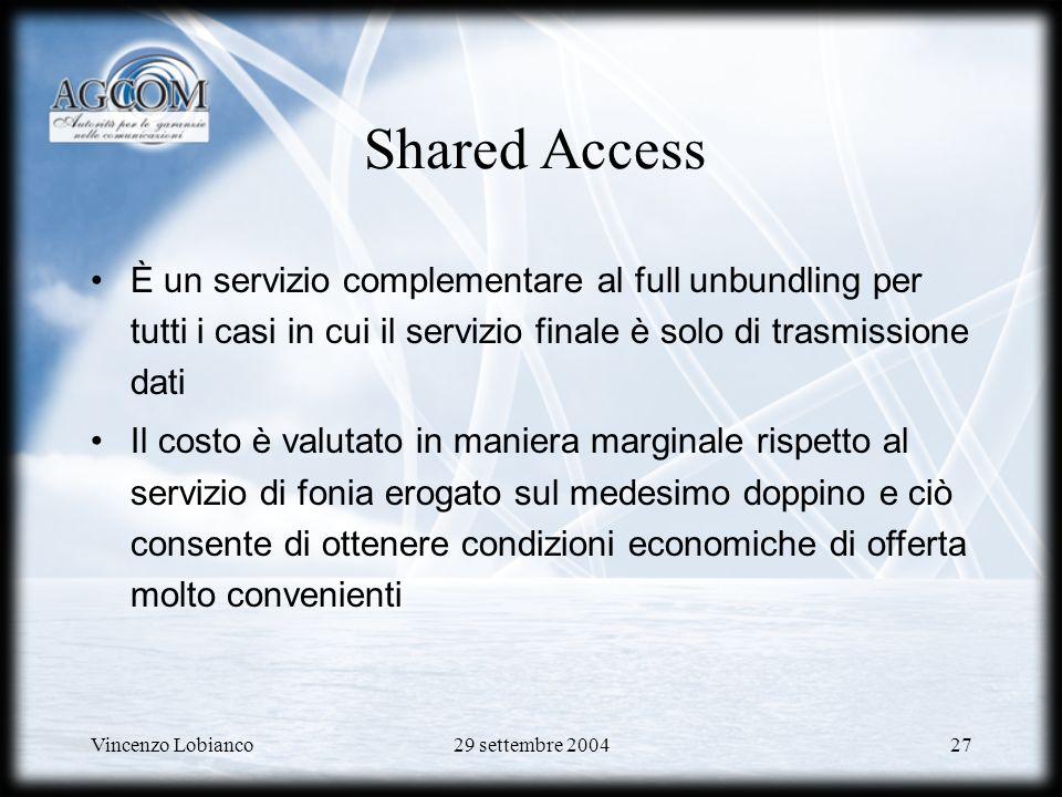 Shared Access È un servizio complementare al full unbundling per tutti i casi in cui il servizio finale è solo di trasmissione dati.