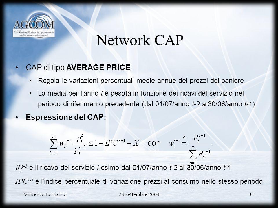 Network CAP CAP di tipo AVERAGE PRICE: Espressione del CAP: