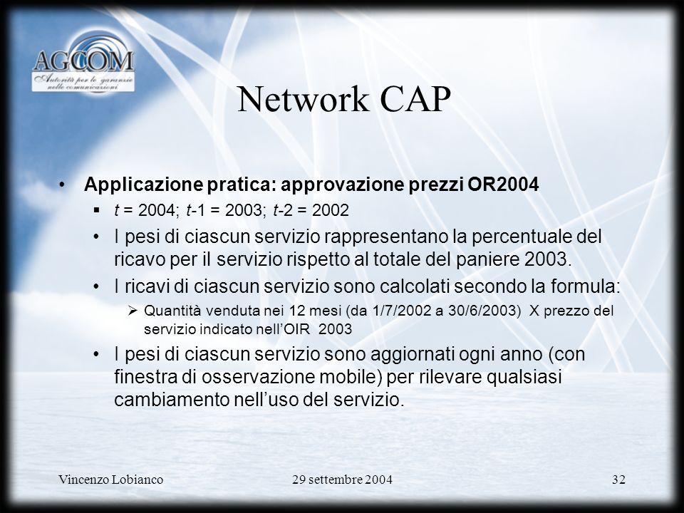 Network CAP Applicazione pratica: approvazione prezzi OR2004
