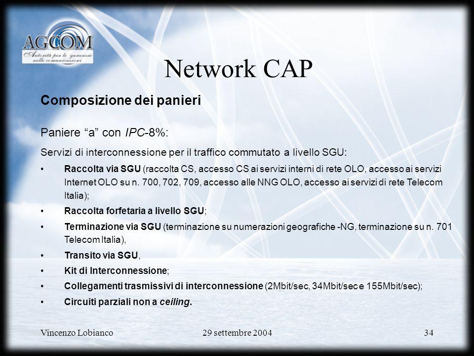 Network CAP Composizione dei panieri Paniere a con IPC-8%: