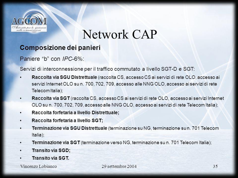 Network CAP Composizione dei panieri Paniere b con IPC-6%: