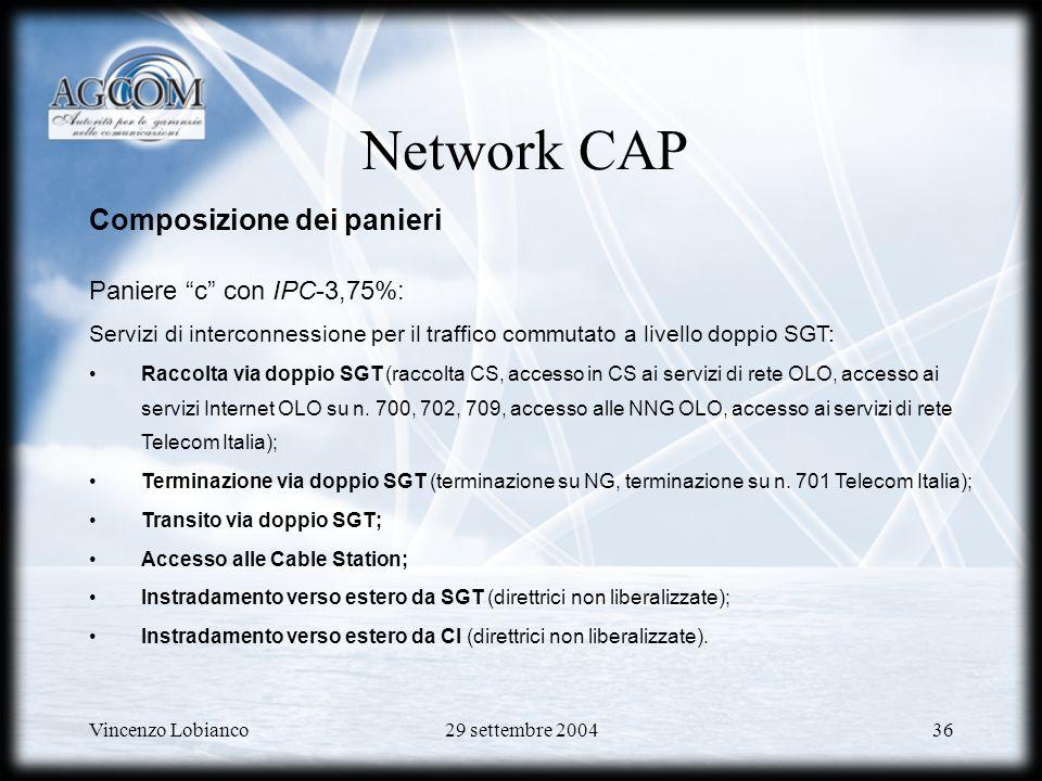 Network CAP Composizione dei panieri Paniere c con IPC-3,75%: