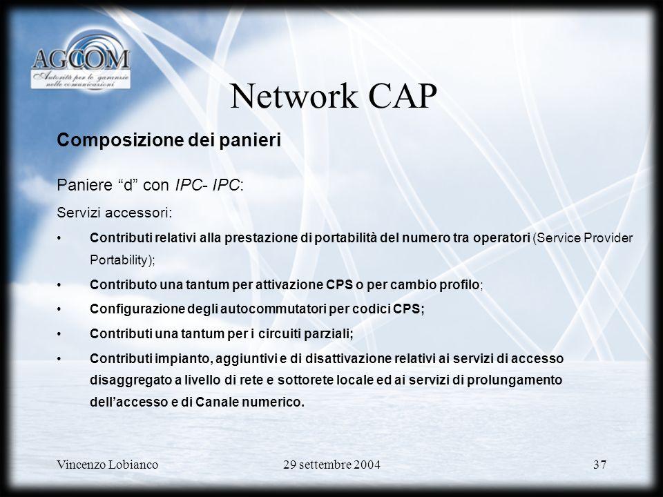 Network CAP Composizione dei panieri Paniere d con IPC- IPC: