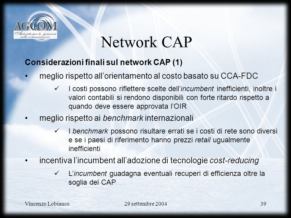 Network CAP Considerazioni finali sul network CAP (1)