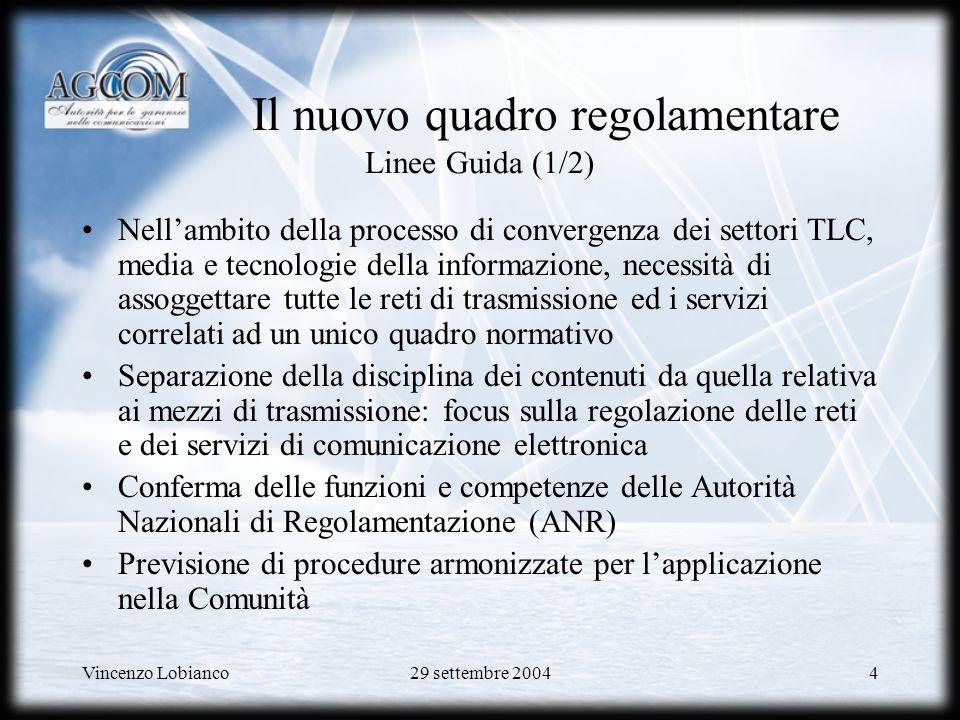 Il nuovo quadro regolamentare Linee Guida (1/2)