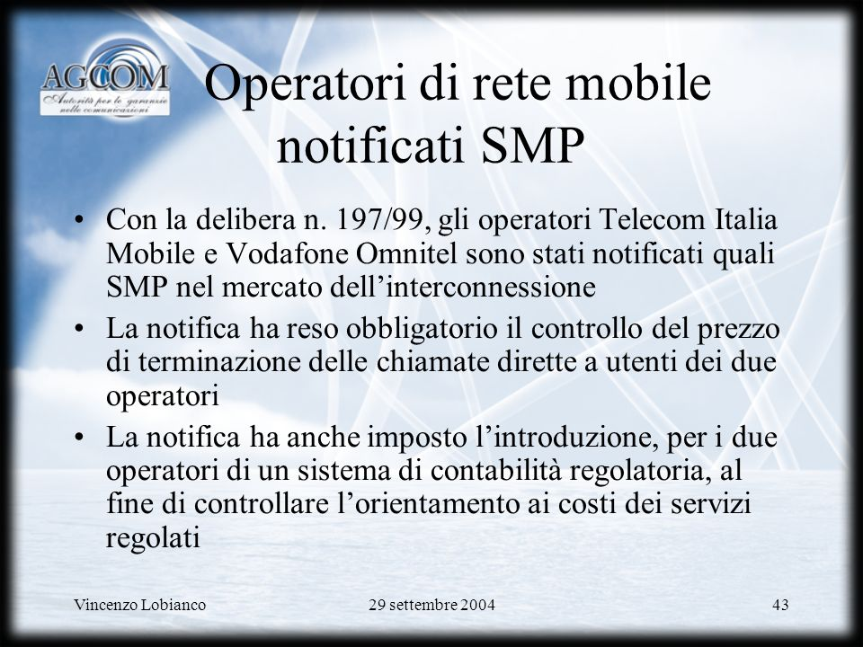 Operatori di rete mobile notificati SMP