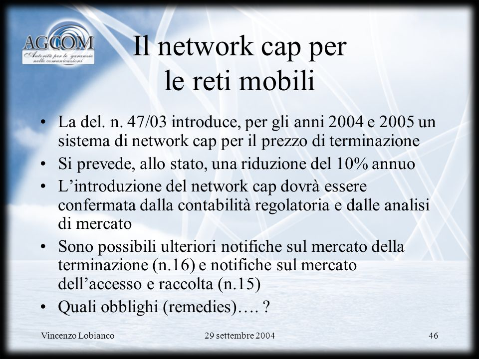 Il network cap per le reti mobili