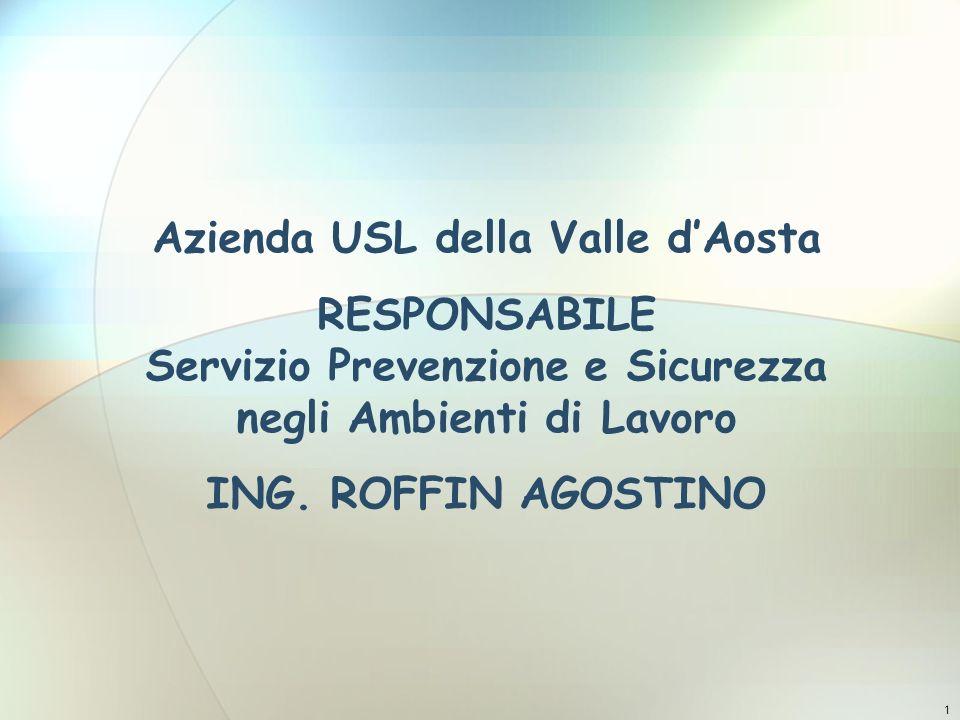 Ergonomia Azienda USL della Valle d'Aosta RESPONSABILE Servizio Prevenzione e Sicurezza negli Ambienti di Lavoro ING. ROFFIN AGOSTINO.