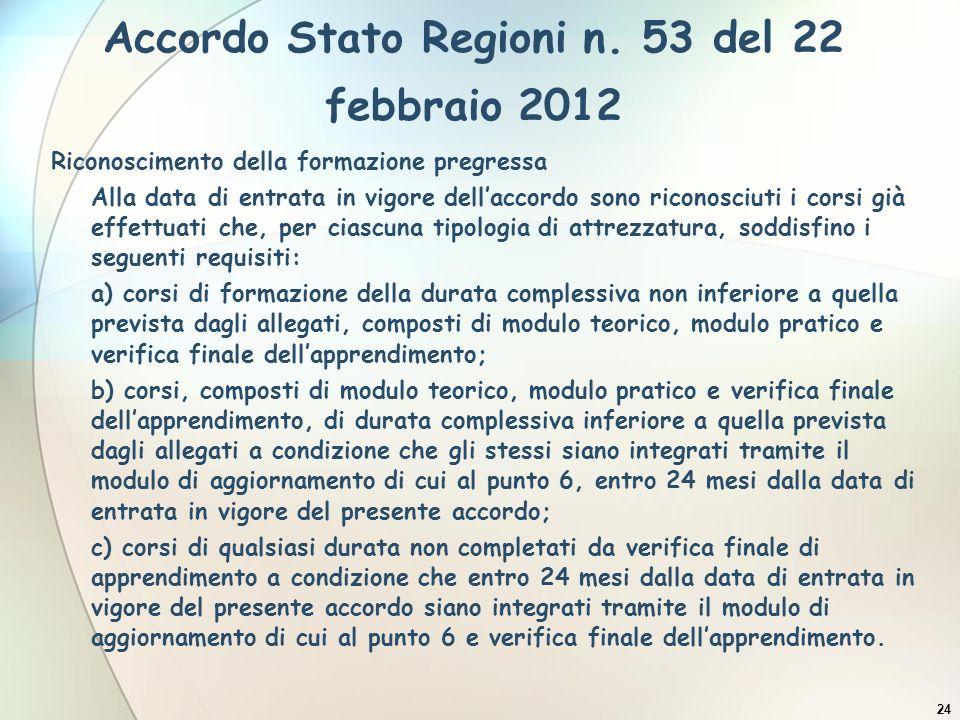 Accordo Stato Regioni n. 53 del 22 febbraio 2012