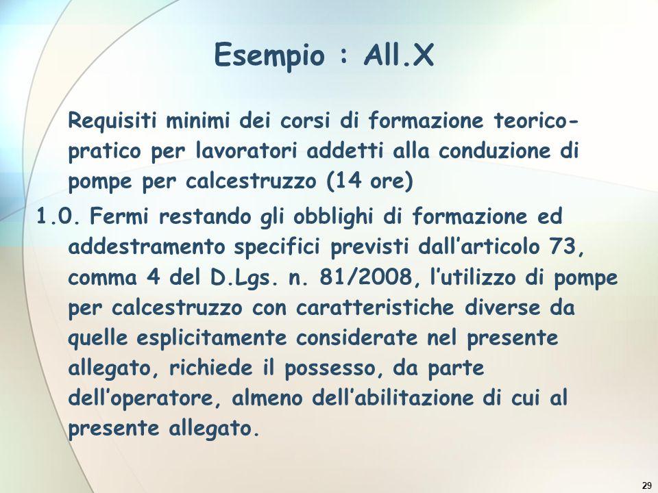 Esempio : All.X Requisiti minimi dei corsi di formazione teorico-pratico per lavoratori addetti alla conduzione di pompe per calcestruzzo (14 ore)