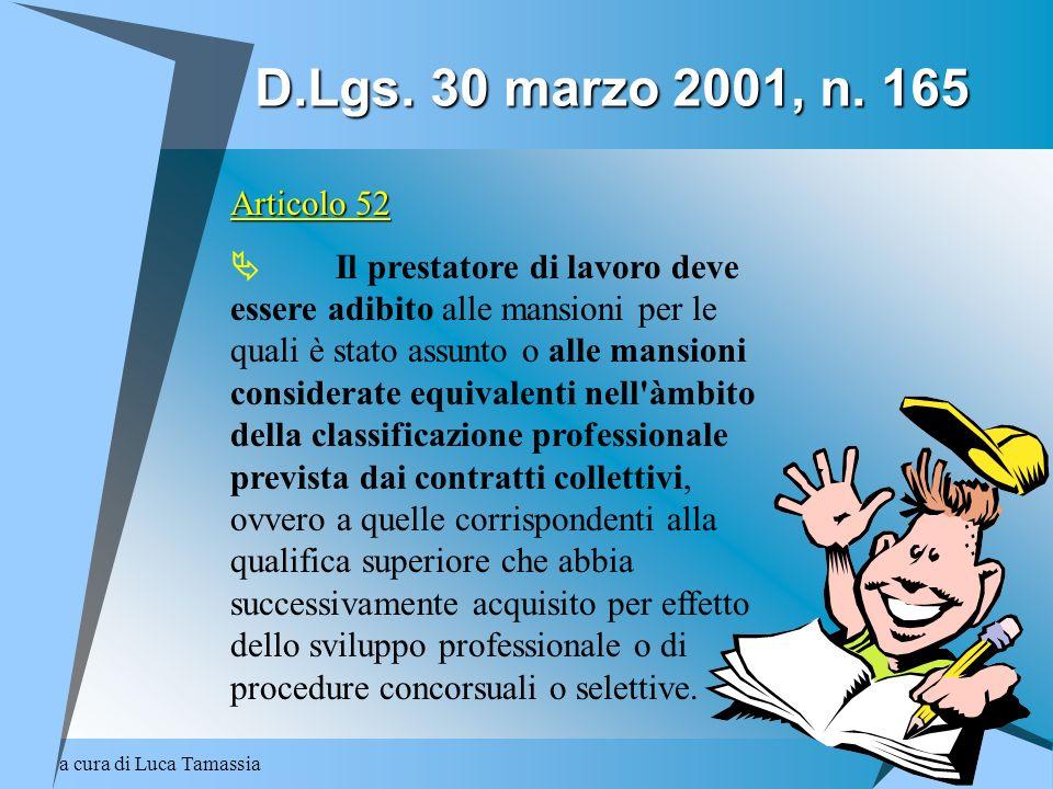 D.Lgs. 30 marzo 2001, n. 165 Articolo 52.