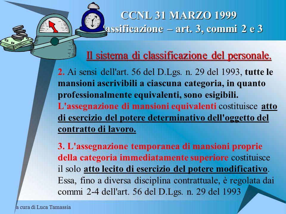CCNL 31 MARZO 1999 Classificazione – art