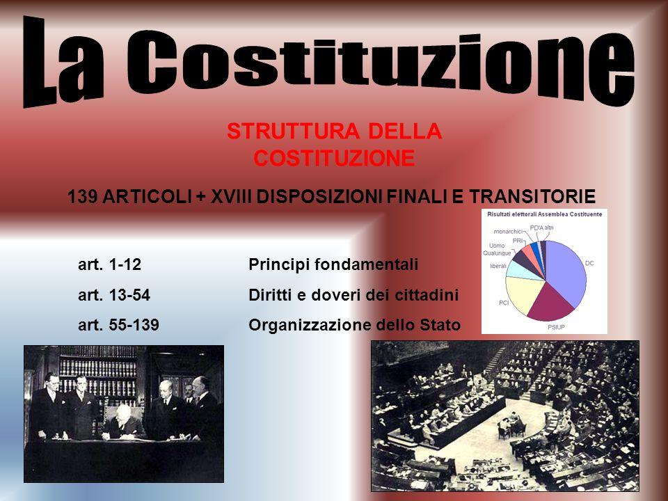 La Costituzione STRUTTURA DELLA COSTITUZIONE