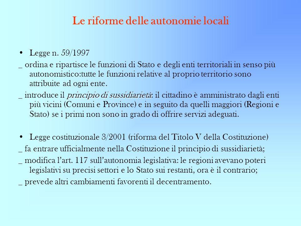 Le riforme delle autonomie locali