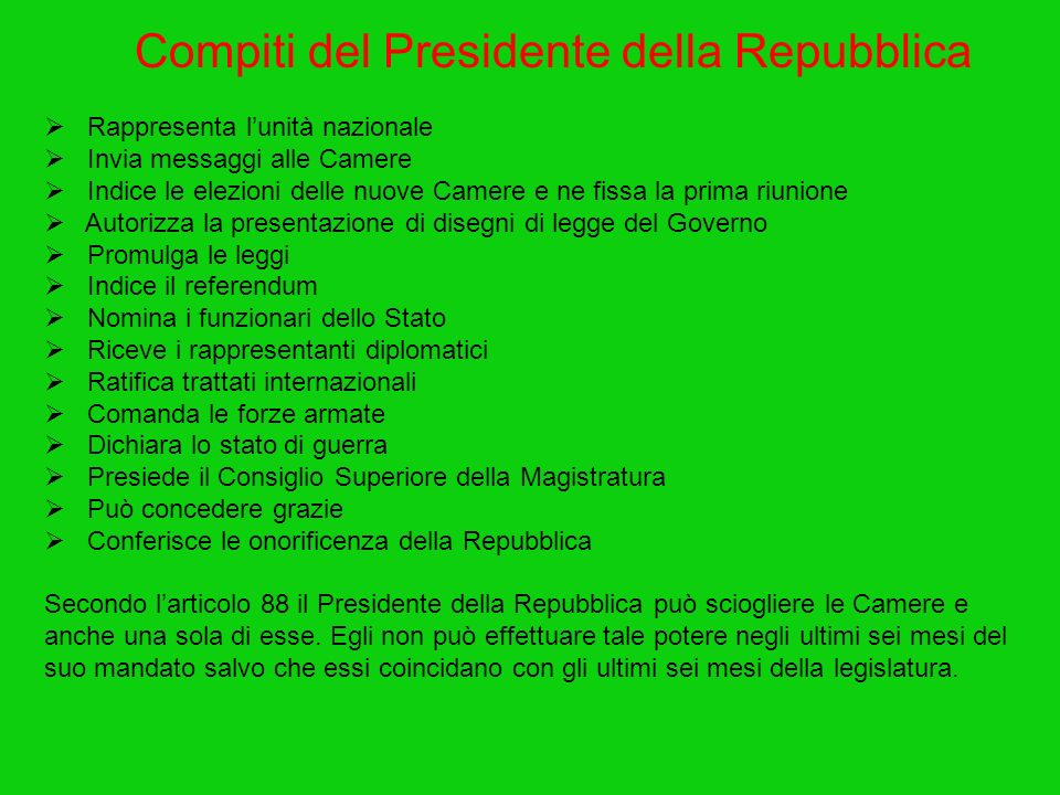 Compiti del Presidente della Repubblica