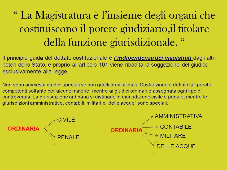 La Magistratura è l'insieme degli organi che costituiscono il potere giudiziario,il titolare della funzione giurisdizionale.