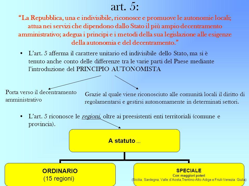 art. 5: La Repubblica, una e indivisibile, riconosce e promuove le autonomie locali; attua nei servizi che dipendono dallo Stato il più ampio decentramento amministrativo; adegua i principi e i metodi della sua legislazione alle esigenze della autonomia e del decentramento.