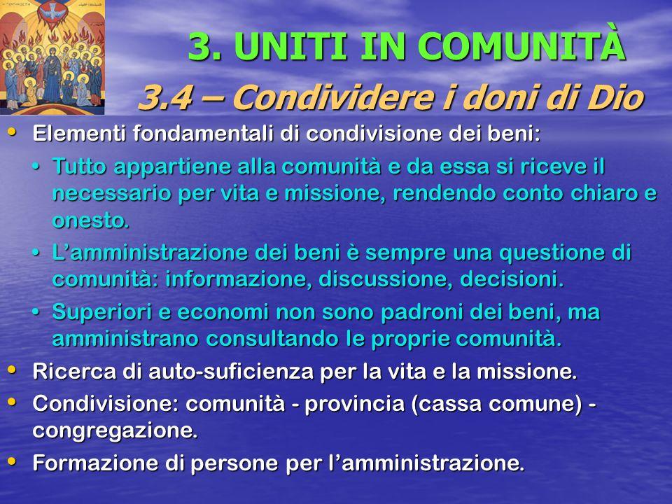3.4 – Condividere i doni di Dio