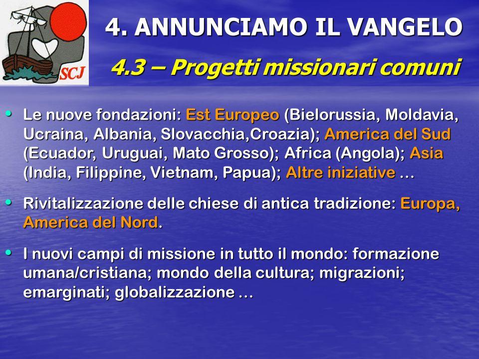4.3 – Progetti missionari comuni