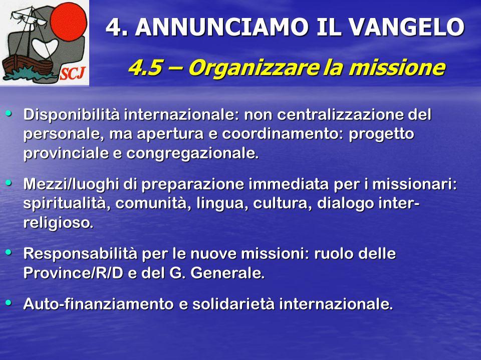 4.5 – Organizzare la missione