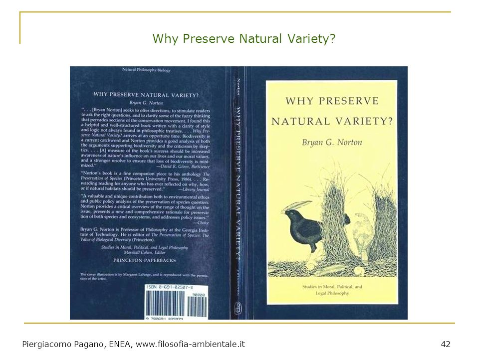 Why Preserve Natural Variety