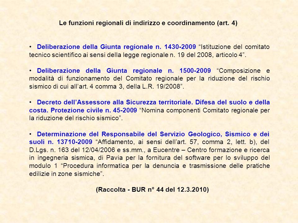 Le funzioni regionali di indirizzo e coordinamento (art. 4)