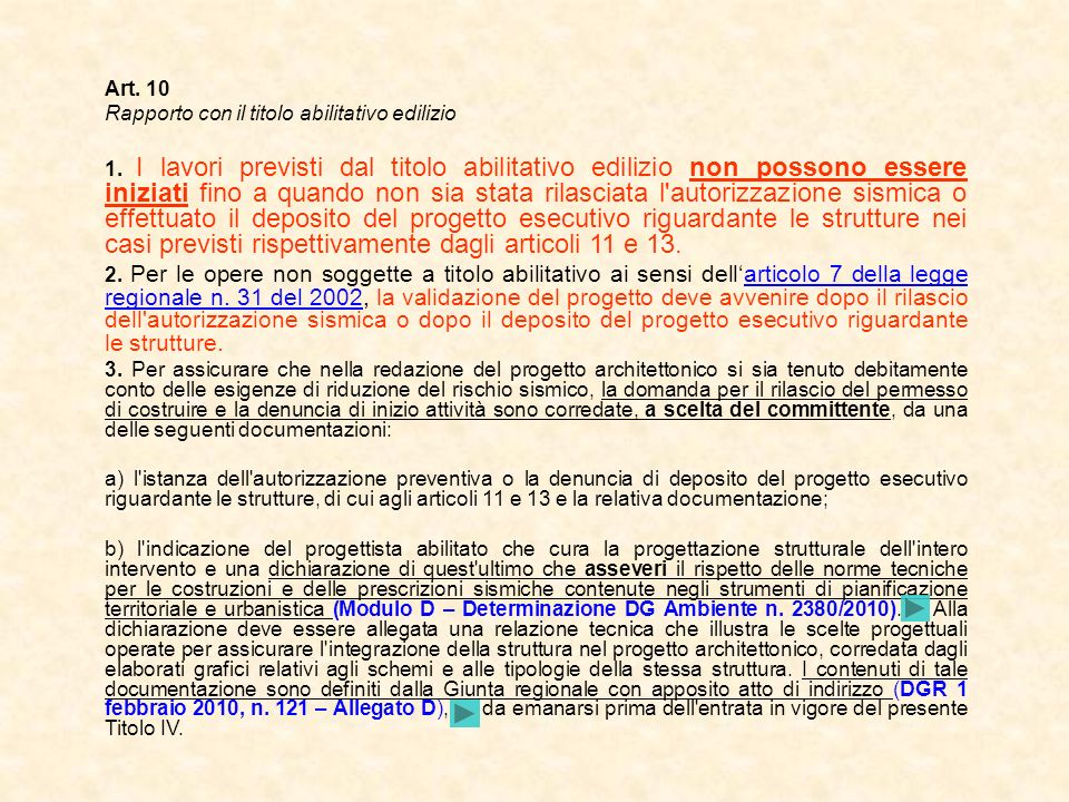 Art. 10 Rapporto con il titolo abilitativo edilizio.