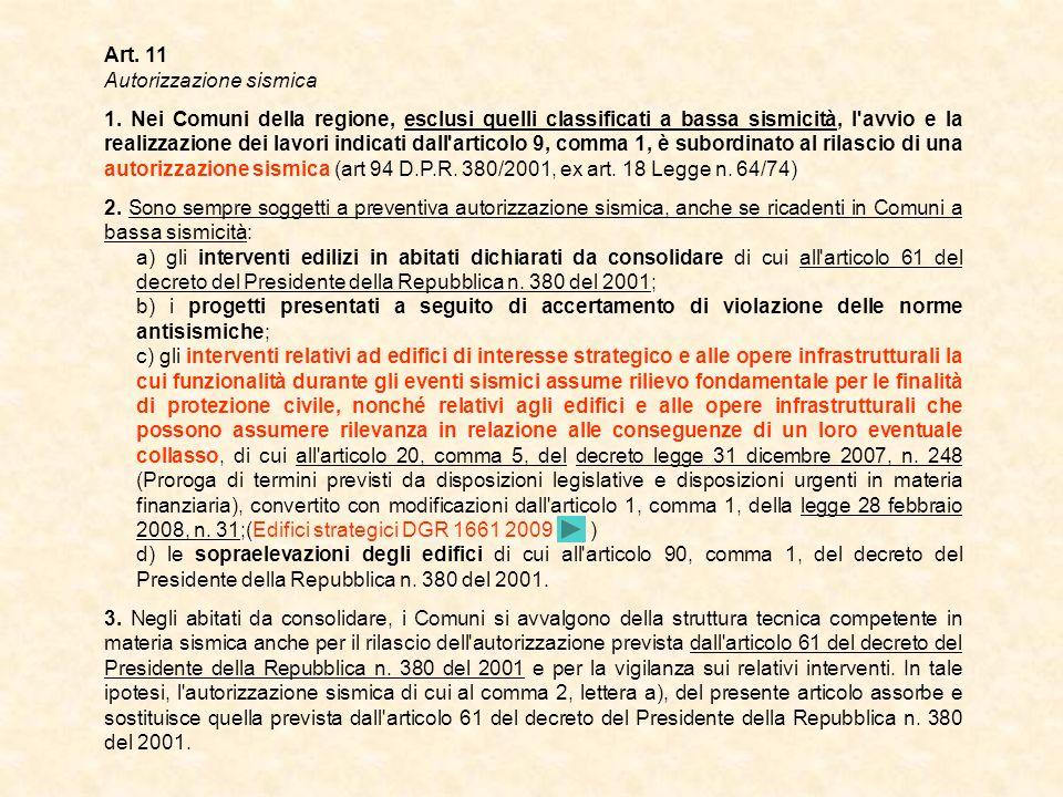 Art. 11 Autorizzazione sismica.