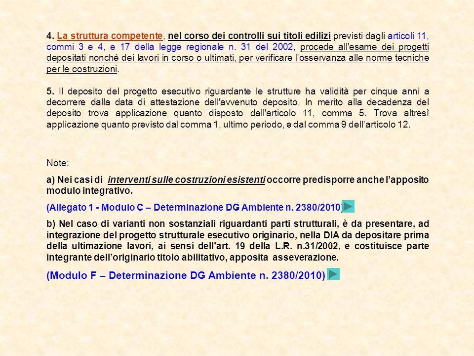 (Modulo F – Determinazione DG Ambiente n. 2380/2010) .
