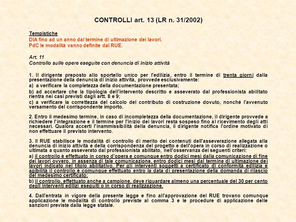 CONTROLLI art. 13 (LR n. 31/2002) Tempistiche