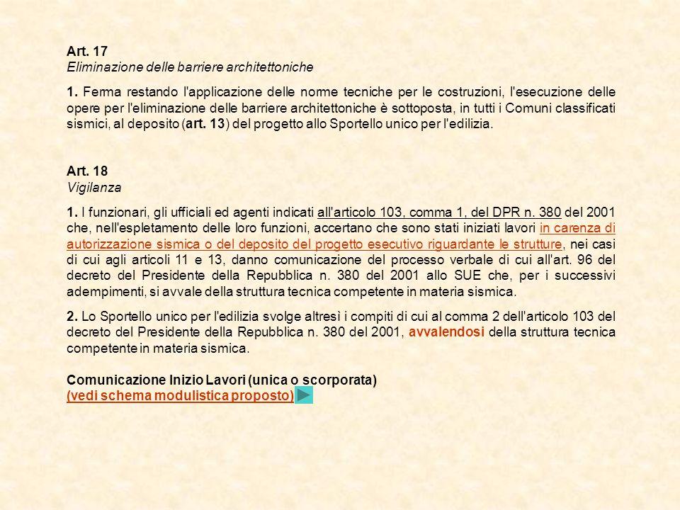 Art. 17 Eliminazione delle barriere architettoniche.