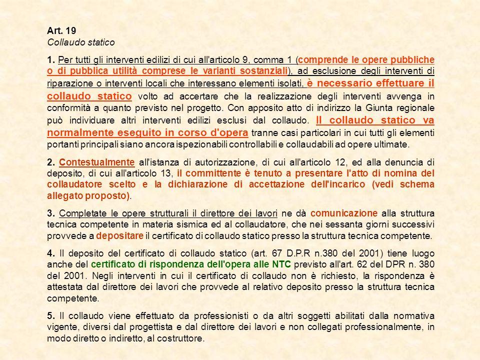 Art. 19 Collaudo statico.